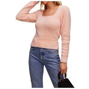 ASTR  Peach Pink Scoop Neck Puff Sleeve Sweater